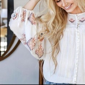 🆕Free People Embroidered Blouse